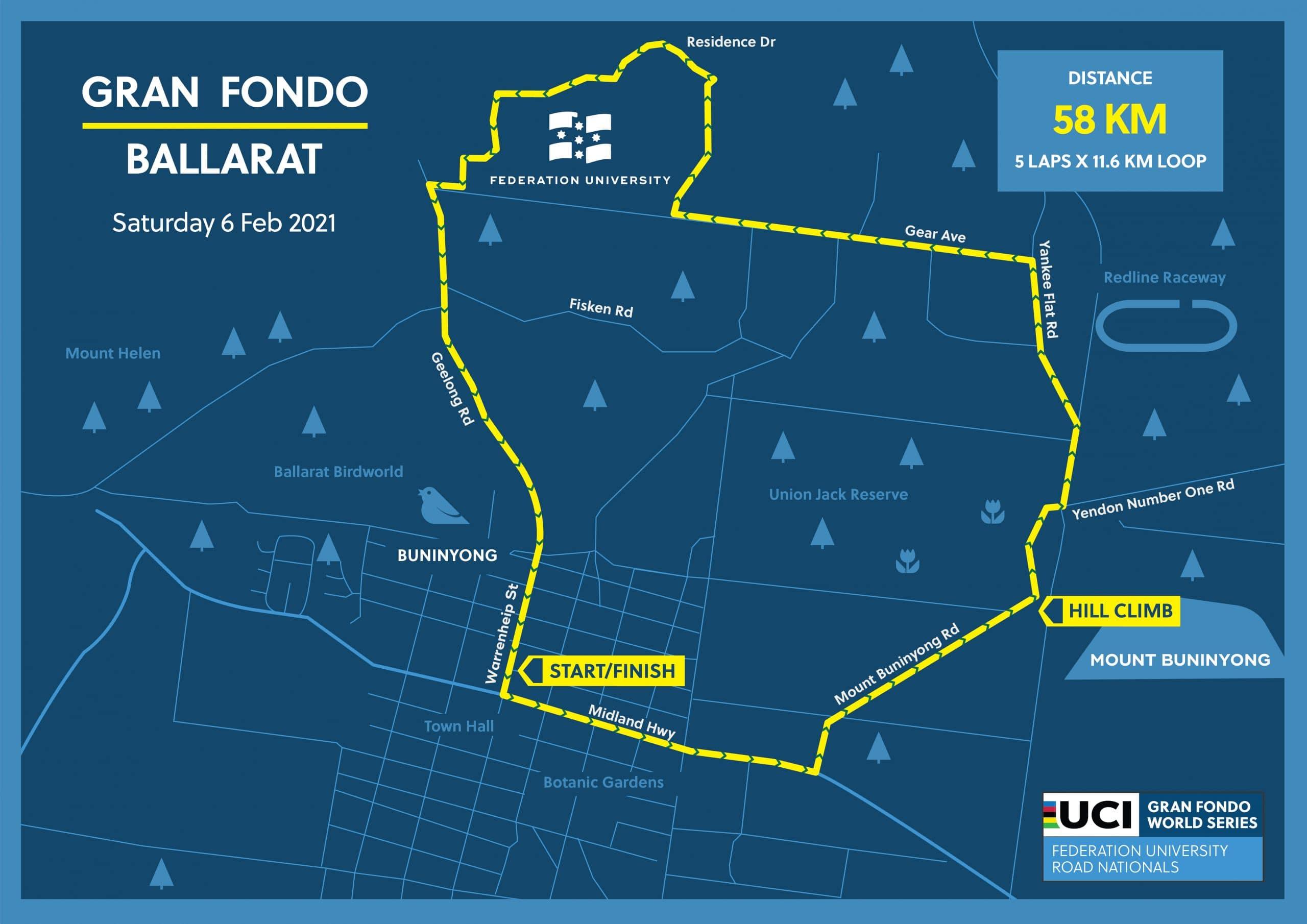 Gran Fondo Road Race Course Map